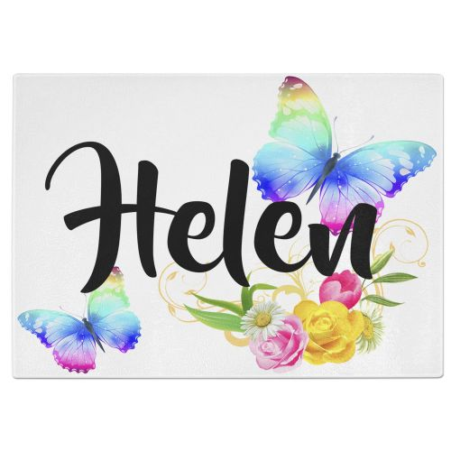 Personalised Beautiful Butterflies & Flowers Novelty Gift  Tempered Glass Chopping Board